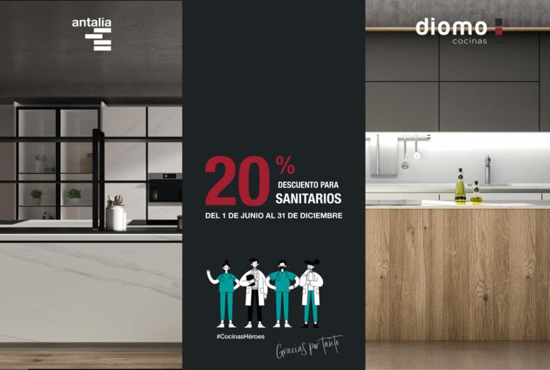 Se lo merecen todo: 20% de descuento para sanitarios en cocinas Antalia y Diomo. ¡#CocinasHéroes!